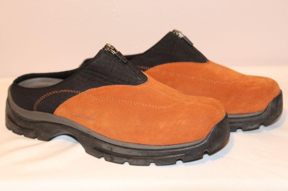 aac98815962e Teva Womens Size 9 Orange Black Shoes Mules 40 Clogs Suede Leather Comfort  EUC  Teva  Clogs