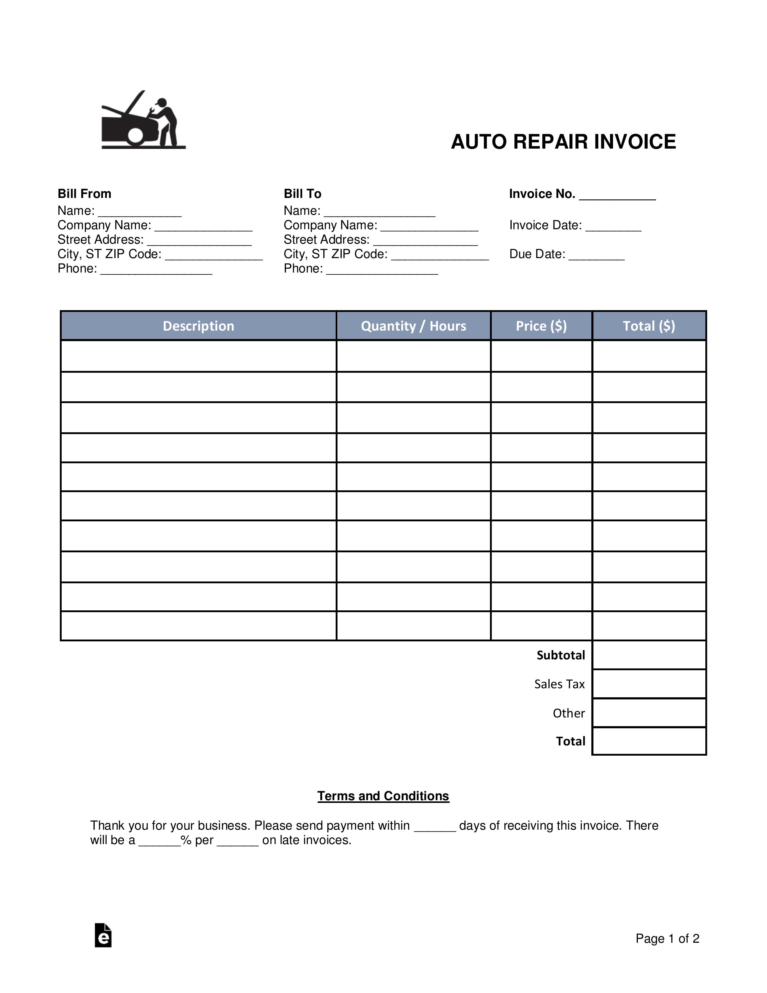 Repair Shop Invoice Template What You Know About Repair