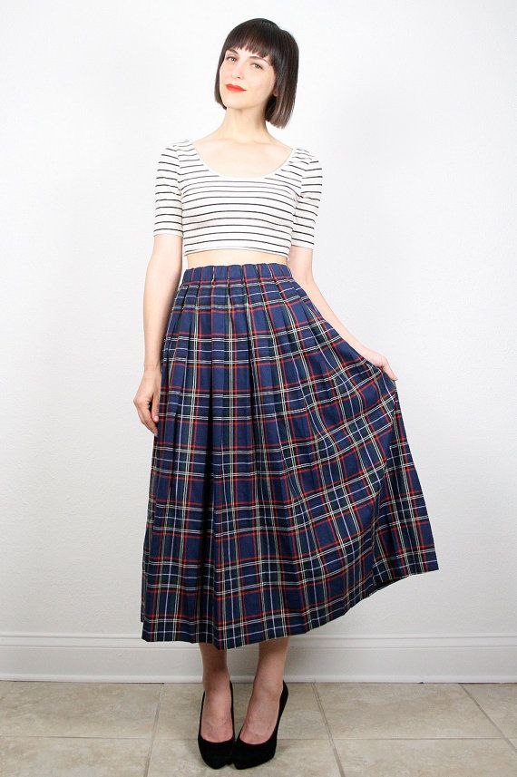Vintage Plaid Skirt Midi Skirt Preppy 1980s 80s Secretary Dress ...