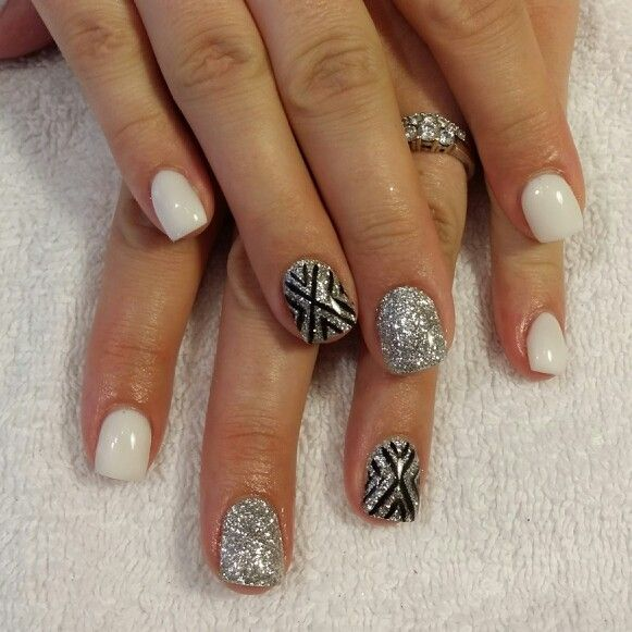 60 Examples of Black and White Nail Art | White gel nails, Silver ...