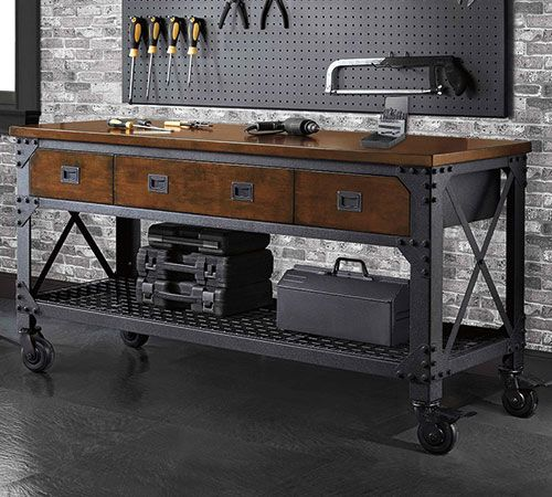 "Whalen Industrial 72/"" Metal  Wood Workbench"