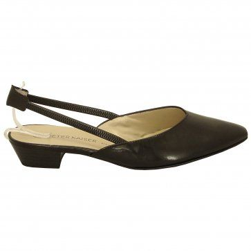 f5b5a377b38f Peter Kaiser Carsta black leather flat slingback shoes - chic slingback  sandals in black leather
