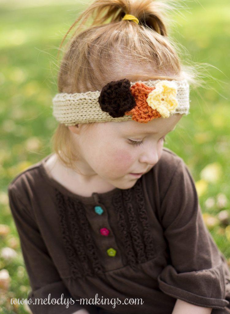 Falling Flowers Ear Warmer - Free Knit Pattern! Sizes Baby, Toddler ...