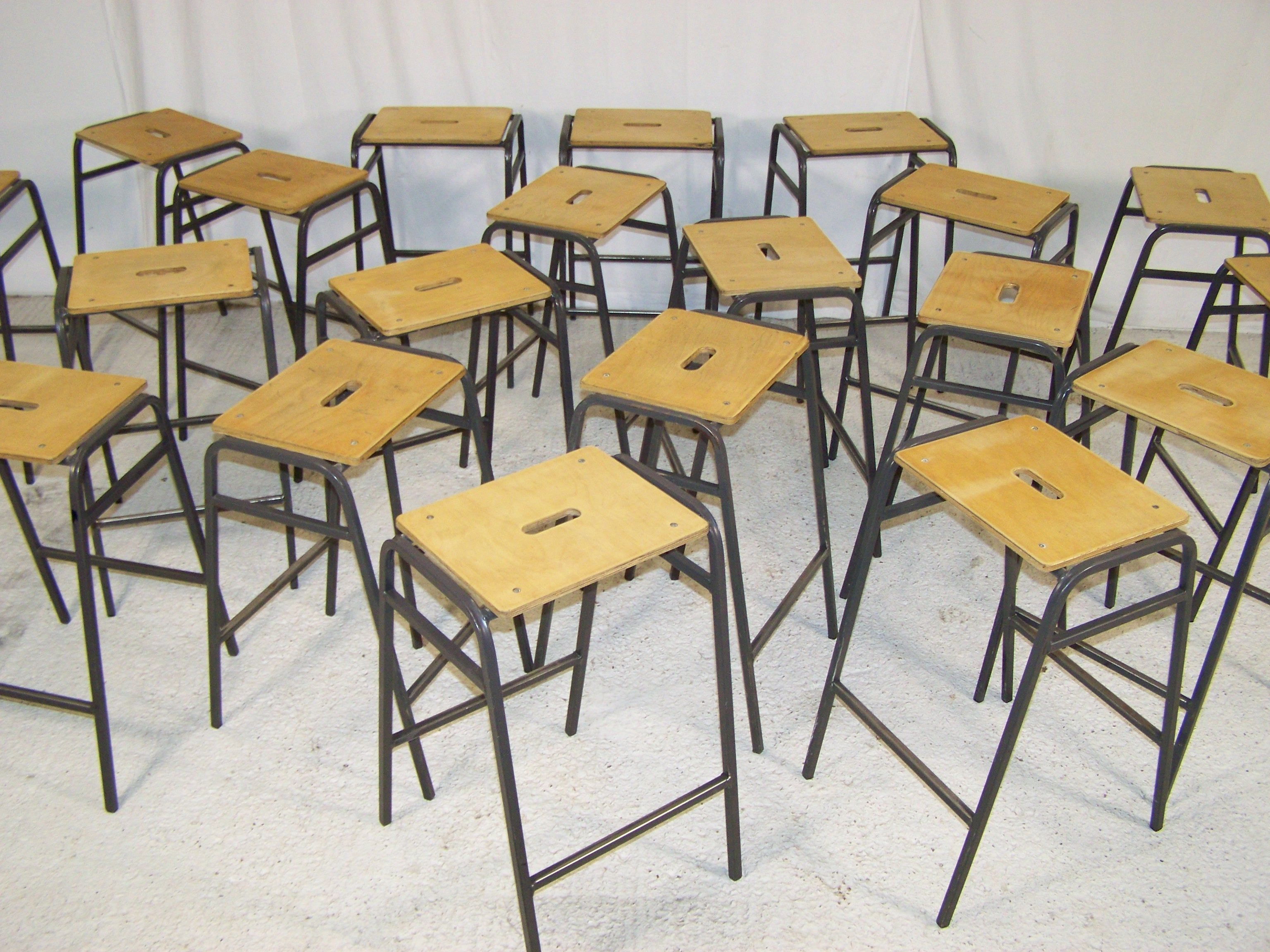 Vintage Ex School Stacking Lab Stools By Remploy In Uk