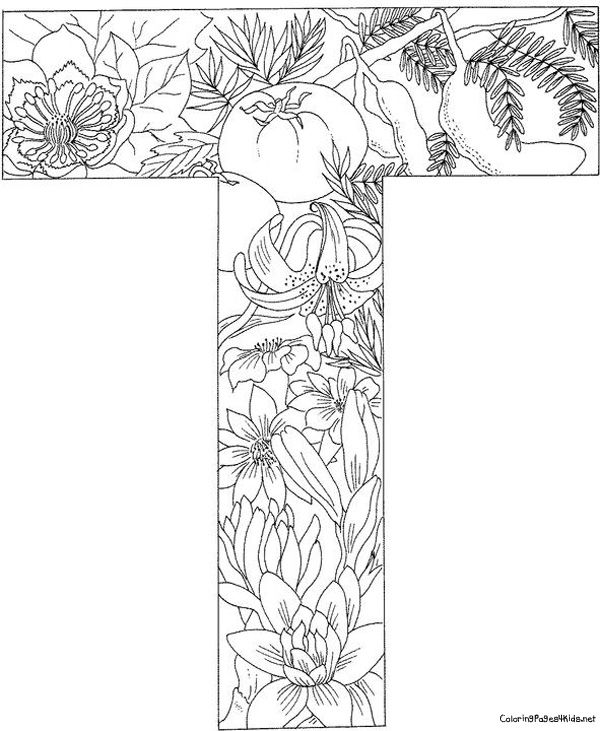 Letter t with plants coloring page from english alphabet with plants category select from 26601 printable crafts of cartoons nature animals