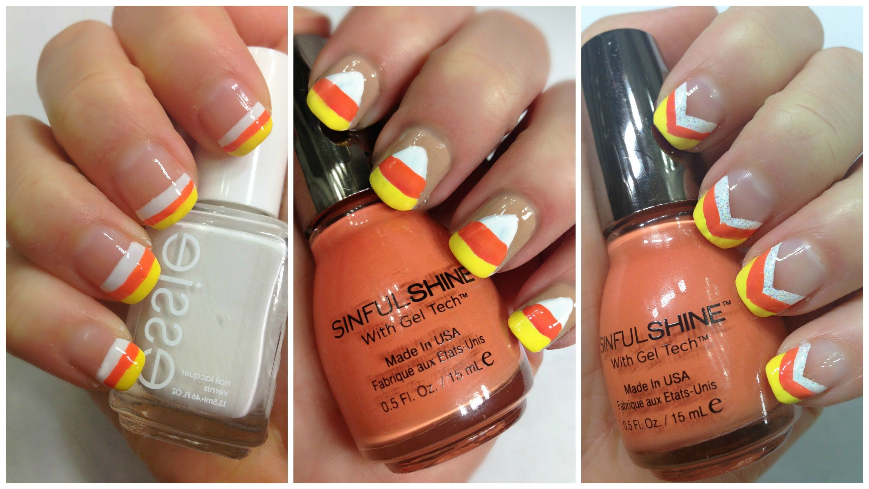 Easy Halloween Nail Art Design YouTube Beauty Tutorial - Candy Corn ...