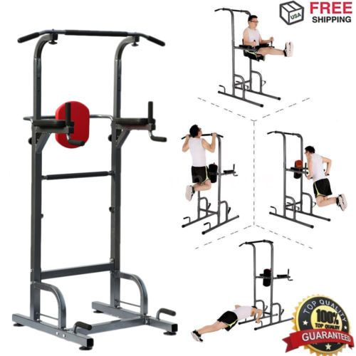 79d0ec351ce Heavy Duty Dip Station Power Tower Pull Push Chin Up Bar Home Gym Fitness  Core
