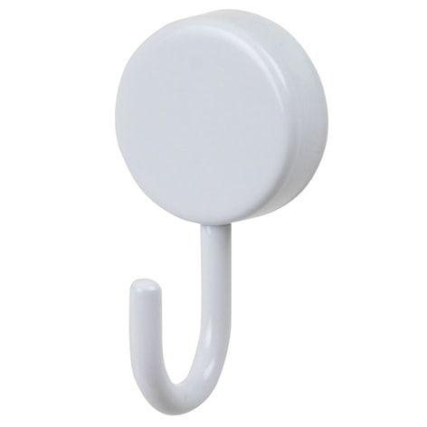 Självhäftande krok vit. . Rund krok i vit metall. Klistras fast på väggen. Bör endast användas på hårda ytor som kakel eller glas, ej på trä, textil, tapet elle