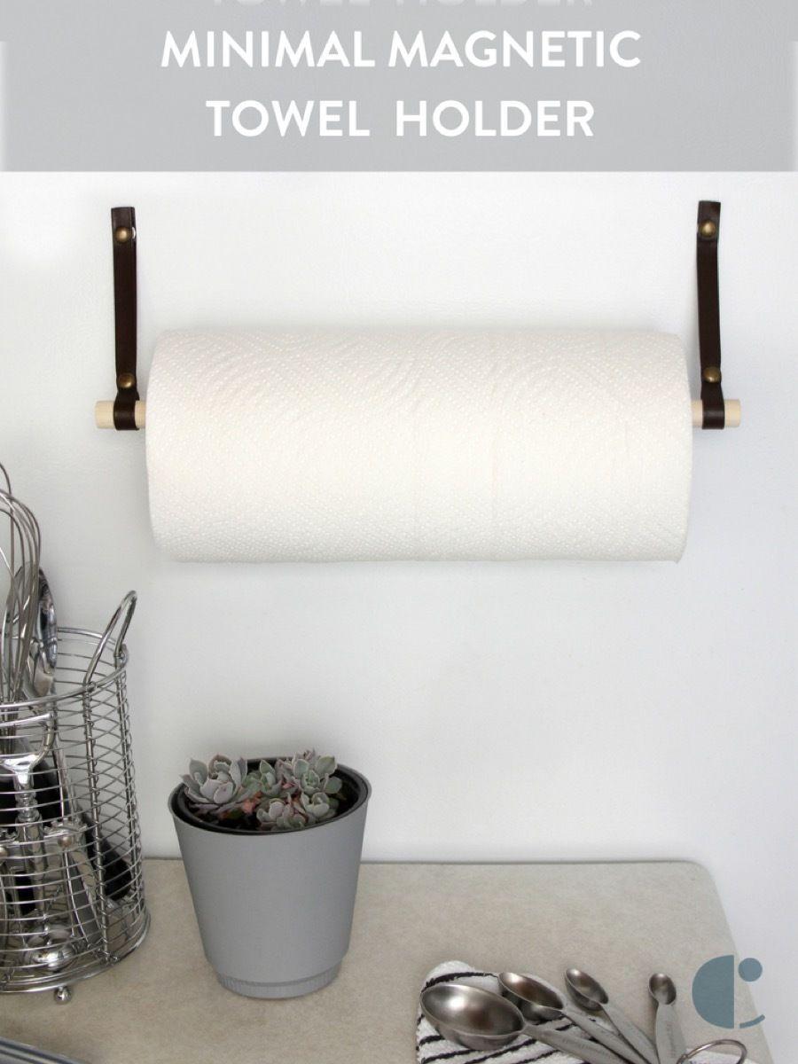 Make This Minimal Magnetic Towel Bar Paper Towel Holder Diy Towel Holder Kitchen Towel Holder