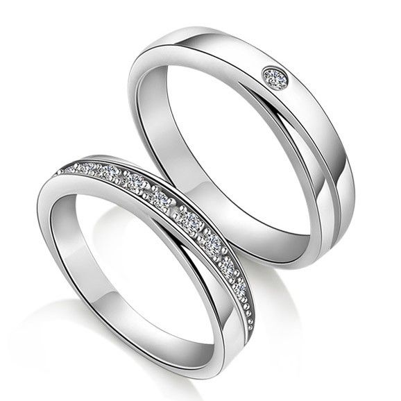 Diamond Wedding Rings for Couples Custom Names Engraved Couples