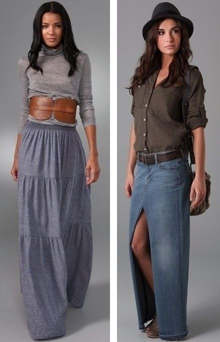 I've always thought of long denim skirts as a passed trend from ...