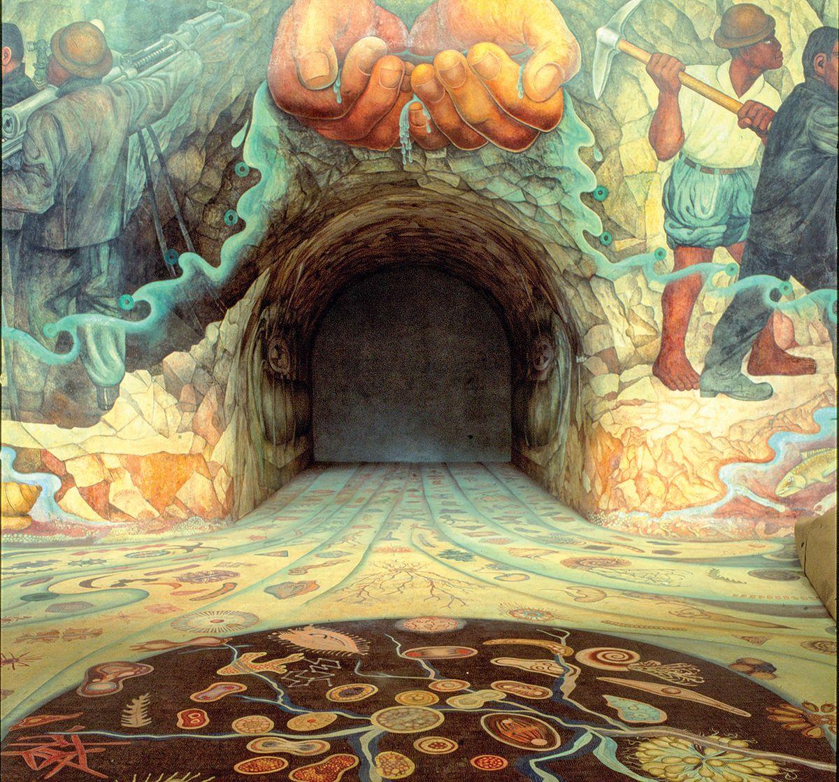"""""""El agua, origen de la vida"""" es el título de este alucinante mural de más de pintado por Diego Rivera en el Cárcamo de Dolores, en Chapultepec."""