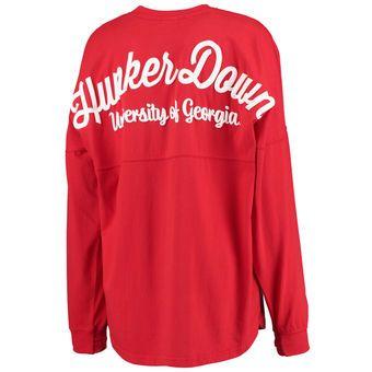 Georgia Bulldogs Women's Red Rally Cry Sweeper Long Sleeve T-Shirt