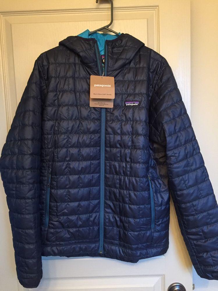 41c548cc542 Patagonia Nano Puff Hoodie Jacket - Men's Medium - Navy Blue - New! | eBay