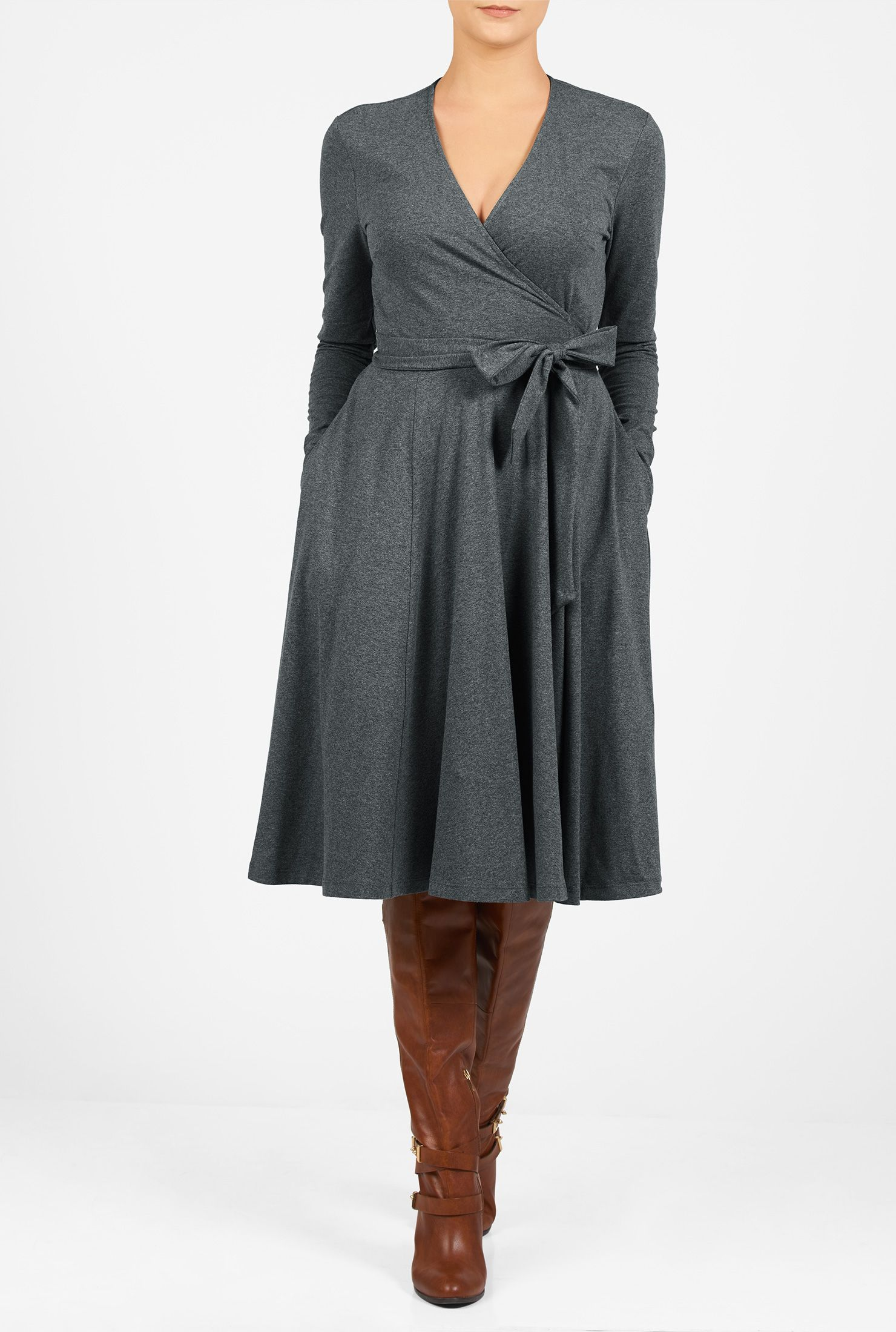 Our Cotton Jersey Knit Wrap Dress Is Styled With A Surplice V Neck And A Cross Over Skirt Affordable Fashion Clothes Tall Girl Dresses Clothing For Tall Women [ 2200 x 1480 Pixel ]