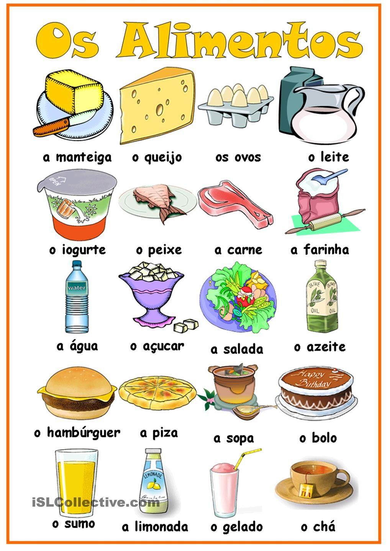 Os Alimentos Apprendre Le Portugais Langue Portugaise Cours Portugais