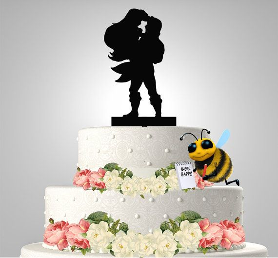 DESCRIPTION This Adorable Ariel and Eric Silhouette cake topper
