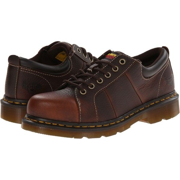 Dr. Martens Work Mila ST (Teak Industrial Bear Track) Women's Work... (£72) ❤ liked on Polyvore featuring shoes, brown, cushioned shoes, steel toe caps, chukka boots, slip resistant shoes and long shoes