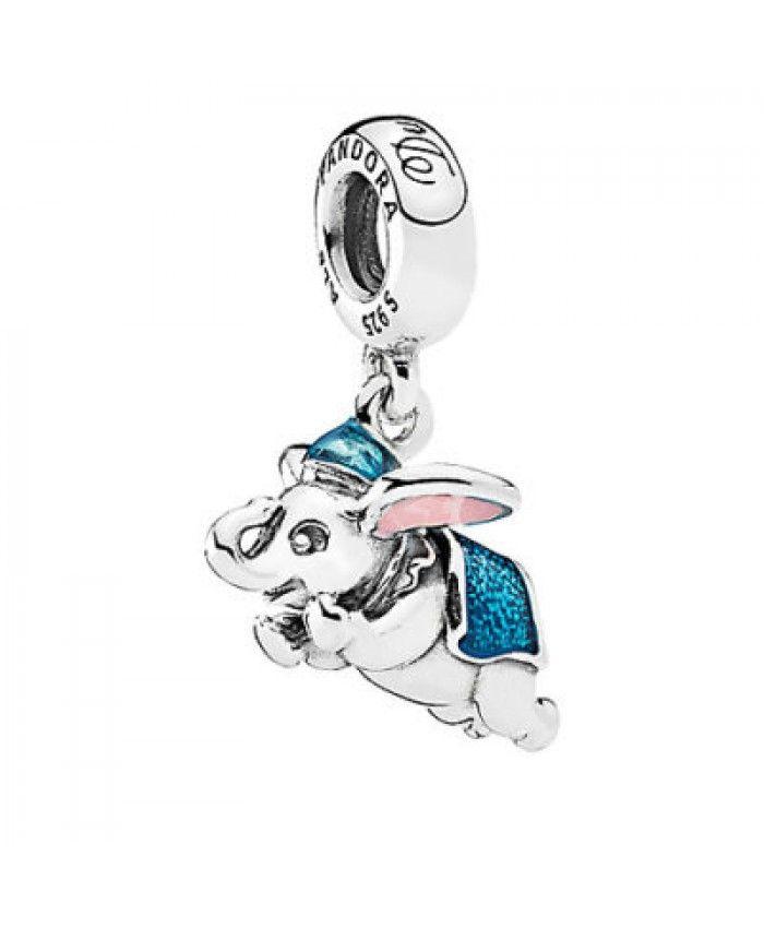 Pandora Disney Parks Flying Dumbo Elephant pink Blue enamel Charm Dangle S925 ALE d7eziq049h