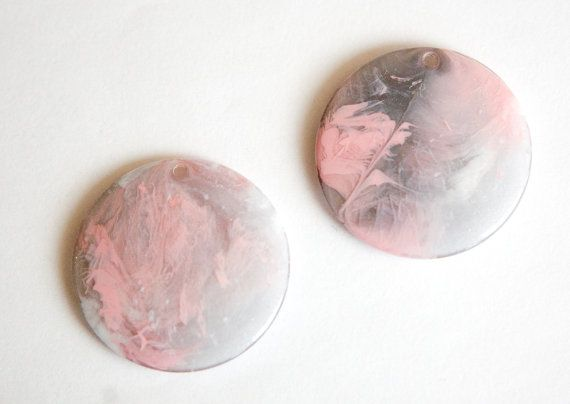 Vintage Gray Pink White Marbled Plastic Pendants by yummytreasures