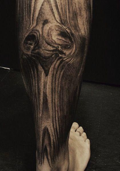 wood grain on calf by David Allen | tattoo artist – Chicago Il, USA ...