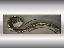 Abstraktes Acrylbild 90 x 30 cm gold schwarz
