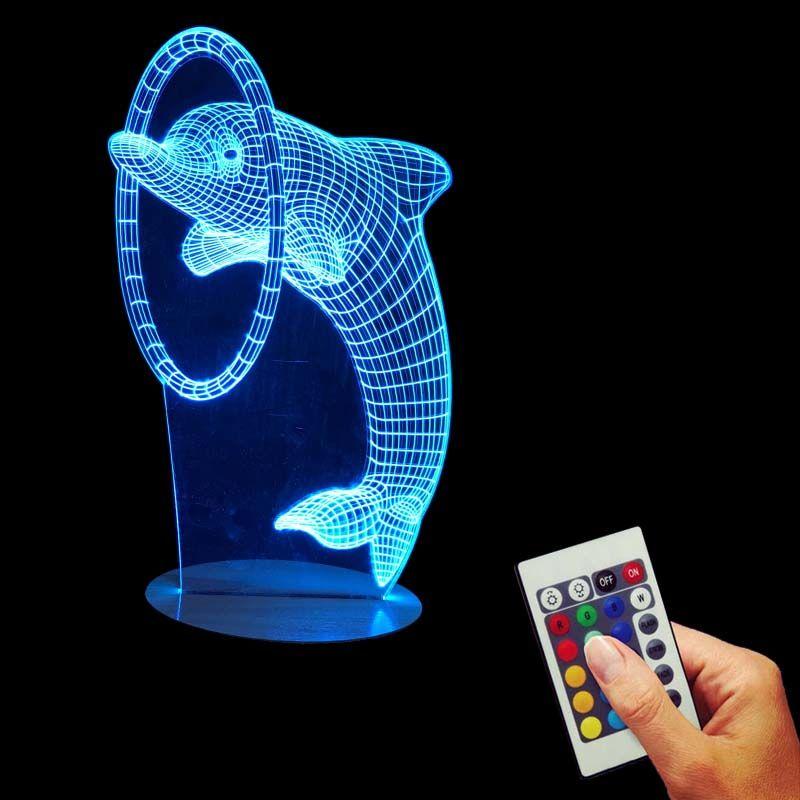 Barato Frete Gratis 1 Peca Multi Colorido Bulbificacao Luz Golfinho 3d Optical Illusion Desk Luz Da Noite Levou Ca Mesas Para Casa Candeeiros De Mesa Candeeiro