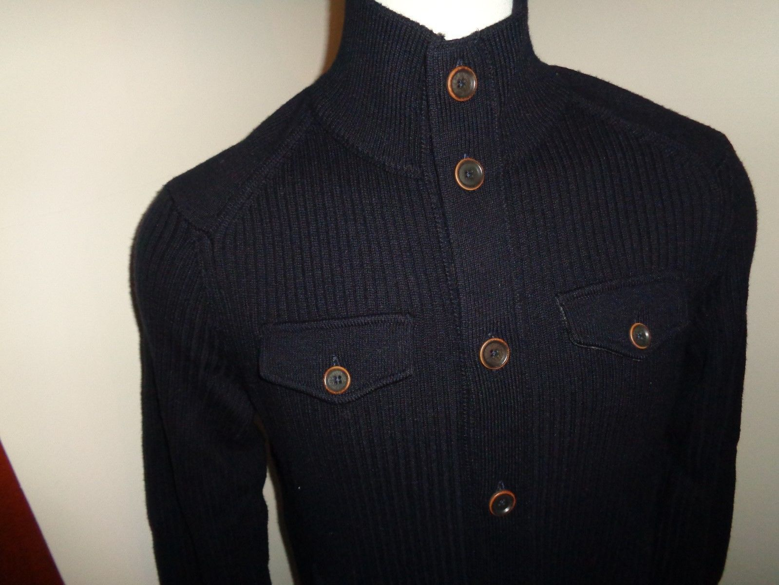 BANANA REPUBLIC MENS LARGE NAVY RIBBED CARDIGAN SWEATER 100 ...