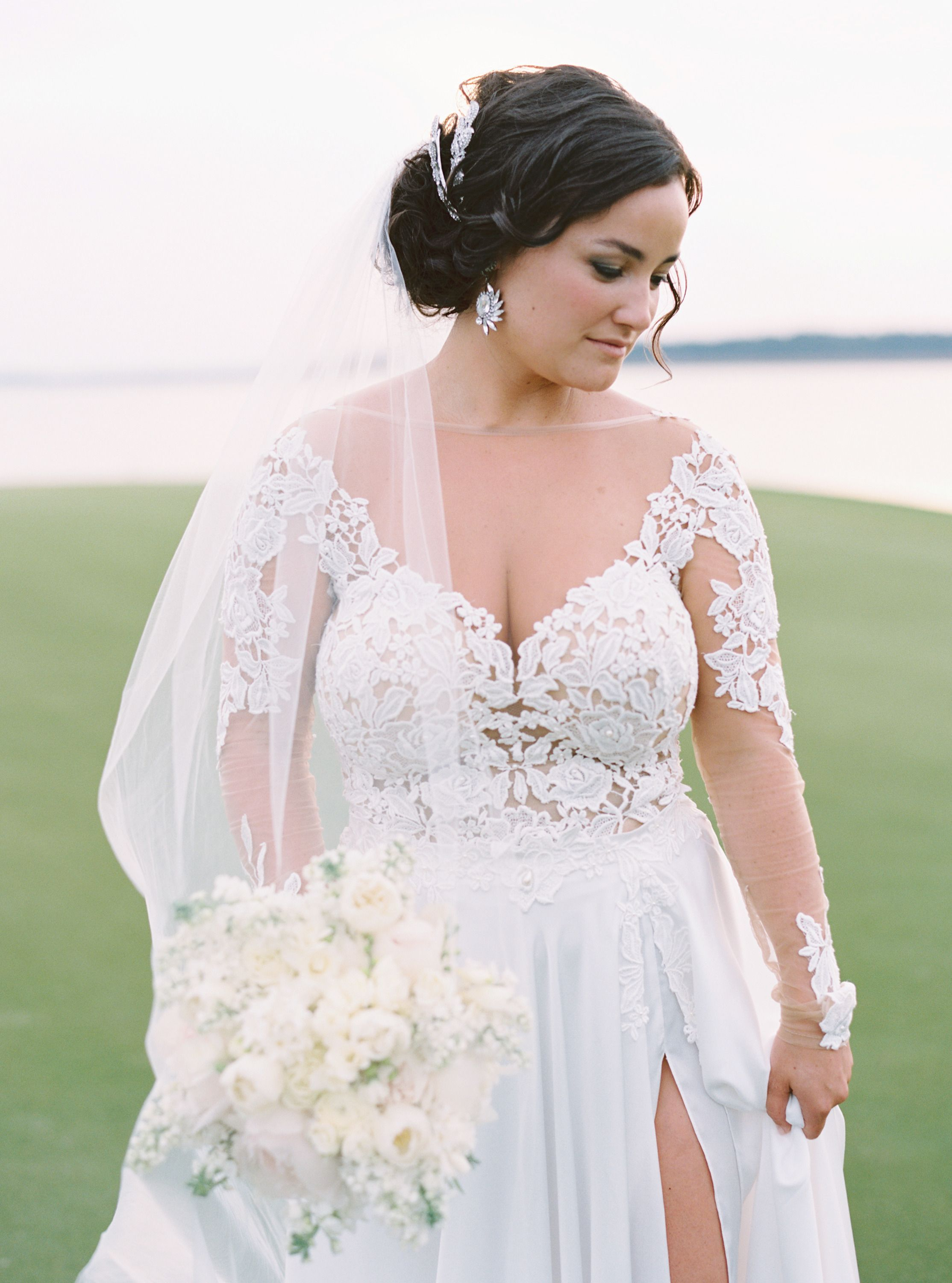 Blush wedding dress with sleeves  Elegant Gold and Blush Southern Wedding  Wedding Collection and