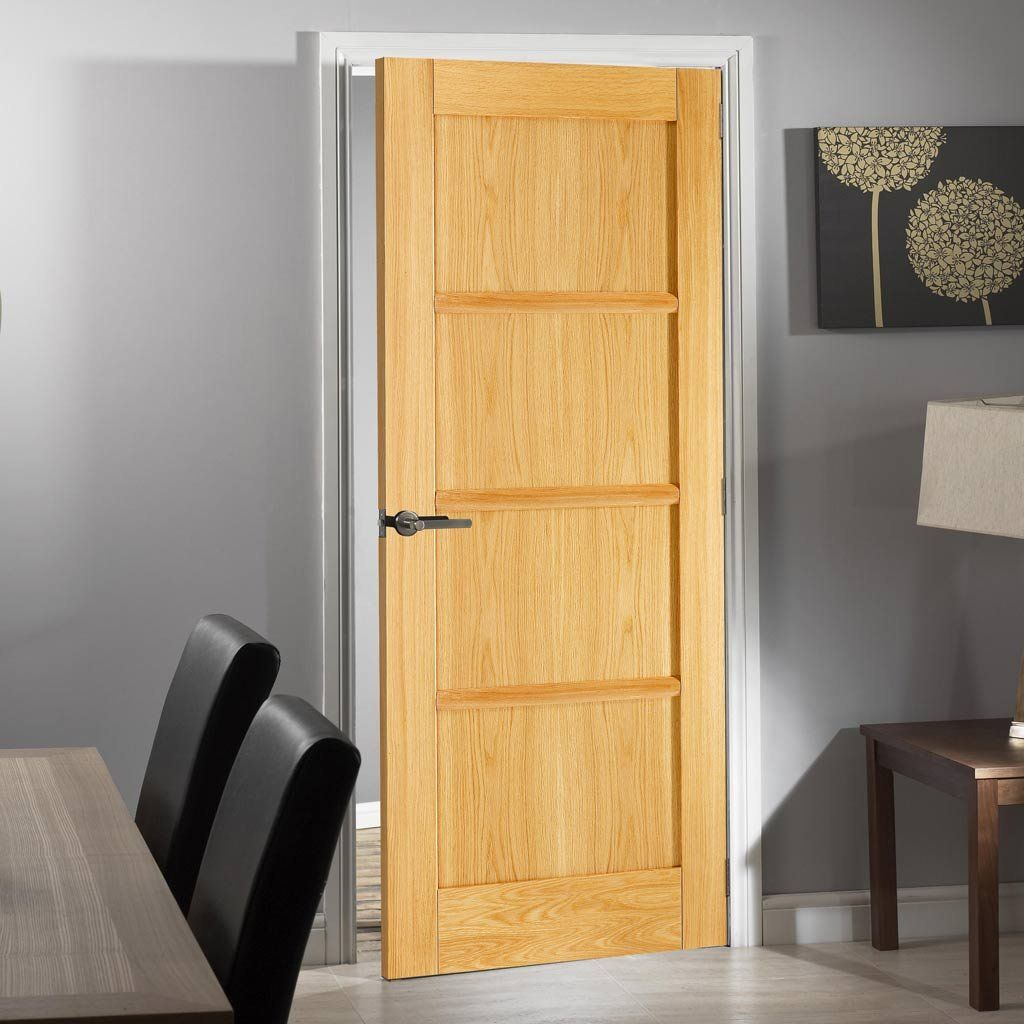 Oslo 4 Panel Oak Fire Door Is 1 2 Hour Fire Rated And Pre Finished Firerateddoor Firedoor Oakdoor Oak Fire Doors Oak Doors Fire Doors