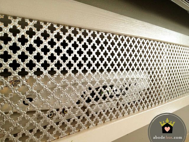 Decorative Sheet Metal Screen To Hide Cable Boxes On A