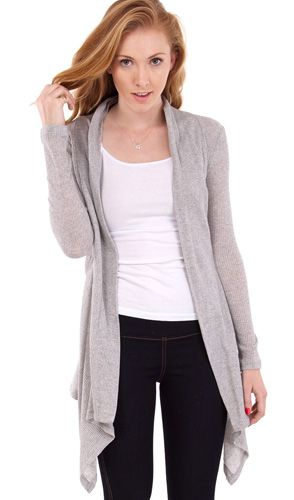 Pin By Clothes Effect On Cardigans Casual Cardigans Cascade Cardigan Ribbed Cardigan