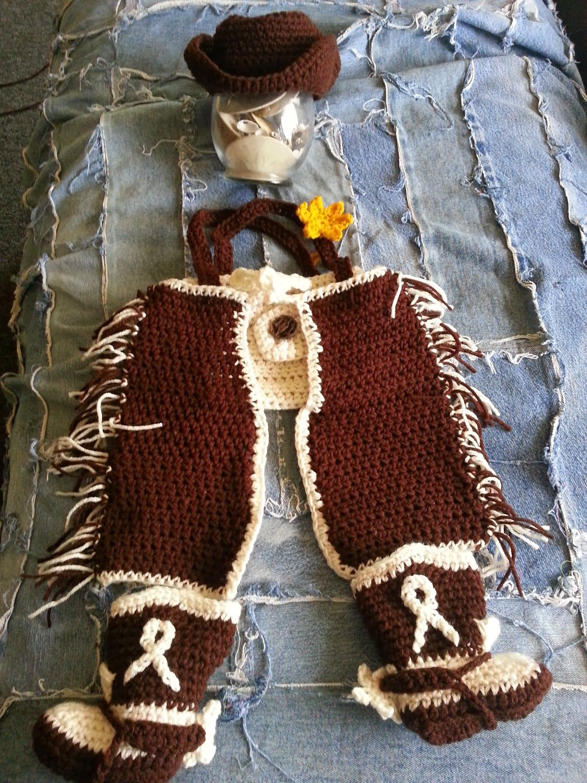 Free patterns for the Cowboy Hat, Diaper Cover, Chaps, and Boots all ...