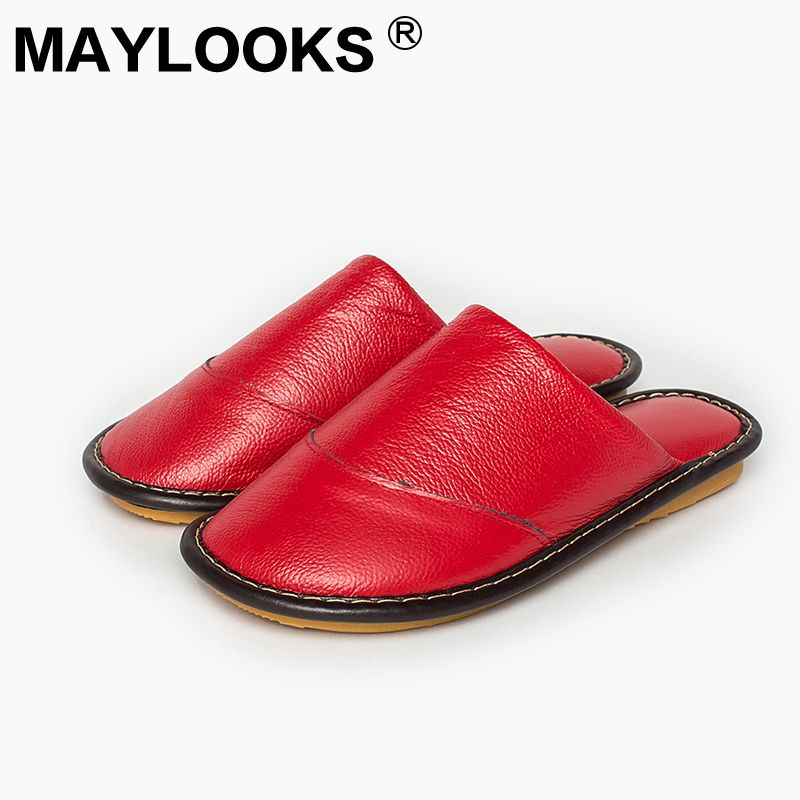 2017 Maylooks Women's Winter Cow Leather Slipper Non-Slip