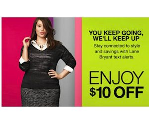 FREE $10 To Spend at Lane Bryant, No Minimum Purchase Required!