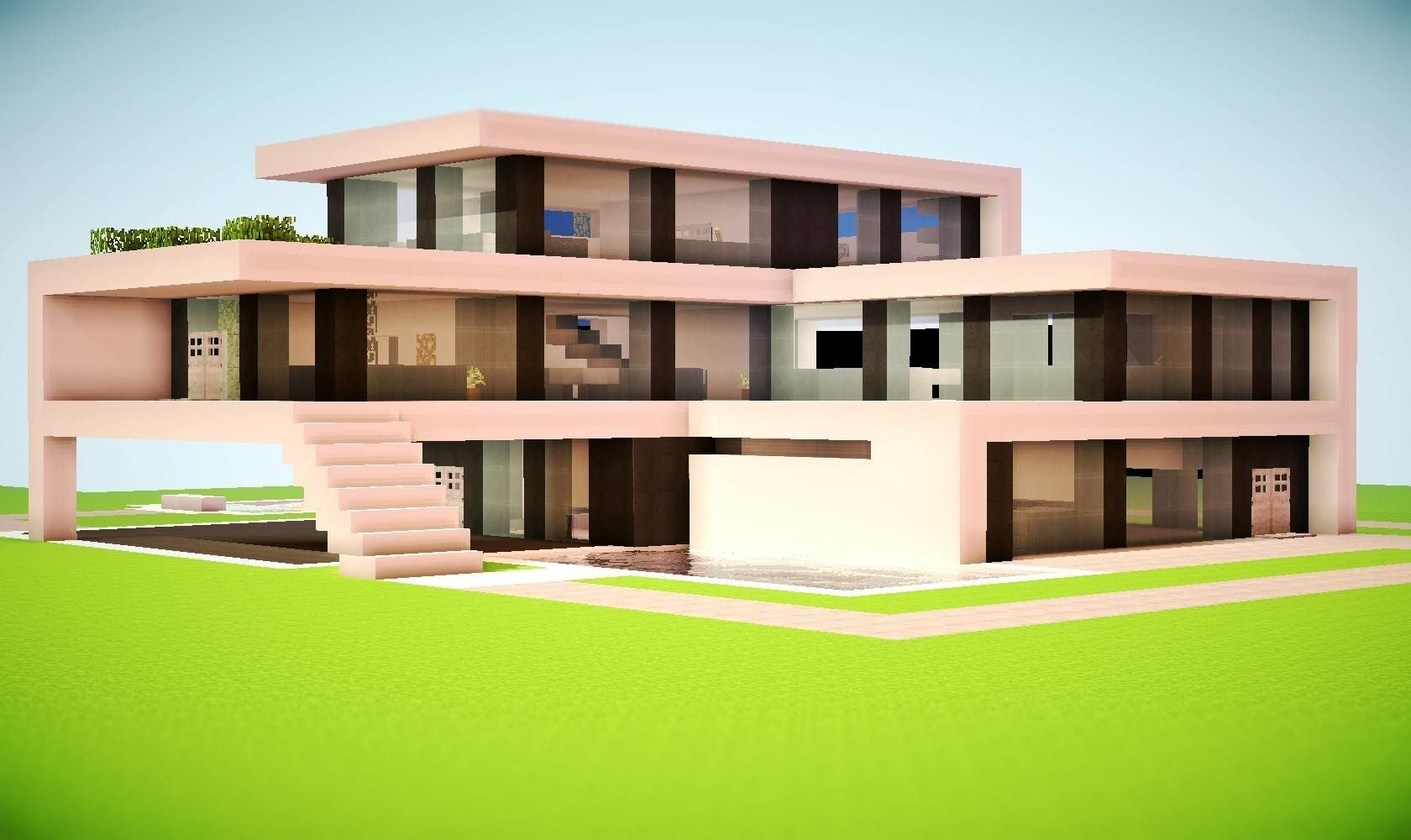 minecraft how to build a modern house tutorial