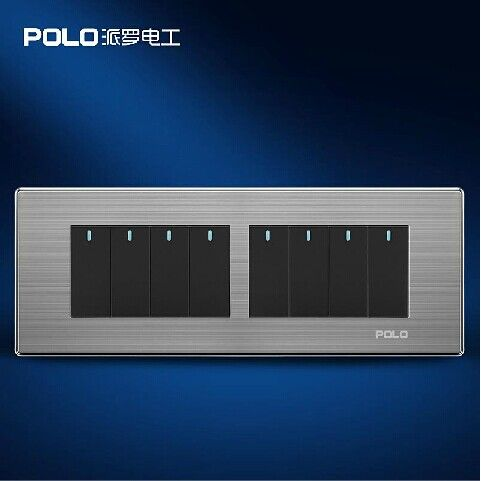 Free Shipping Polo Luxury Wall Light Switch Panel 8 Gang 2 Way Champagne Black Push Button Led Swit Led Panel Light Switch Alarm Systems For Home