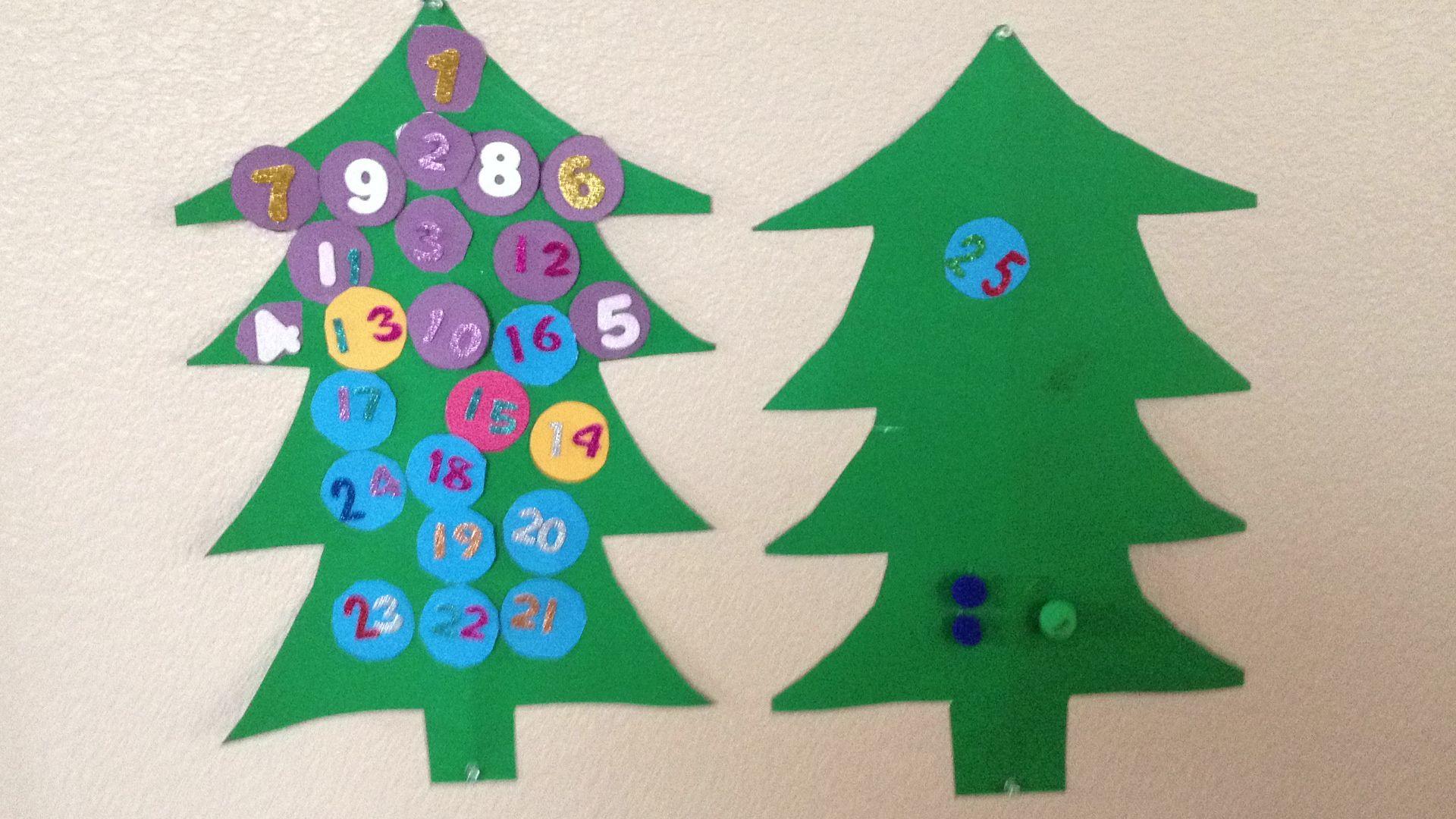 DIY Christmas tree advent calendar. My daughter and I took green ...