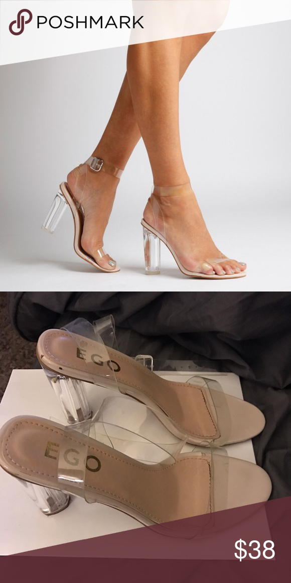EGO Official Ariana Perspex Clear Sandal SZ 10 Worn Twice nothing is wrong with them just too big ! Avoid Ego International Shipping time ! Two scuffs on upper of back shoe but can wiped off ! Get them for a steal! Shoes Heels