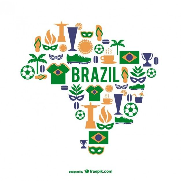 Download Brazil Elements And Map For Free Free Vector Illustration Vector Free Brazil