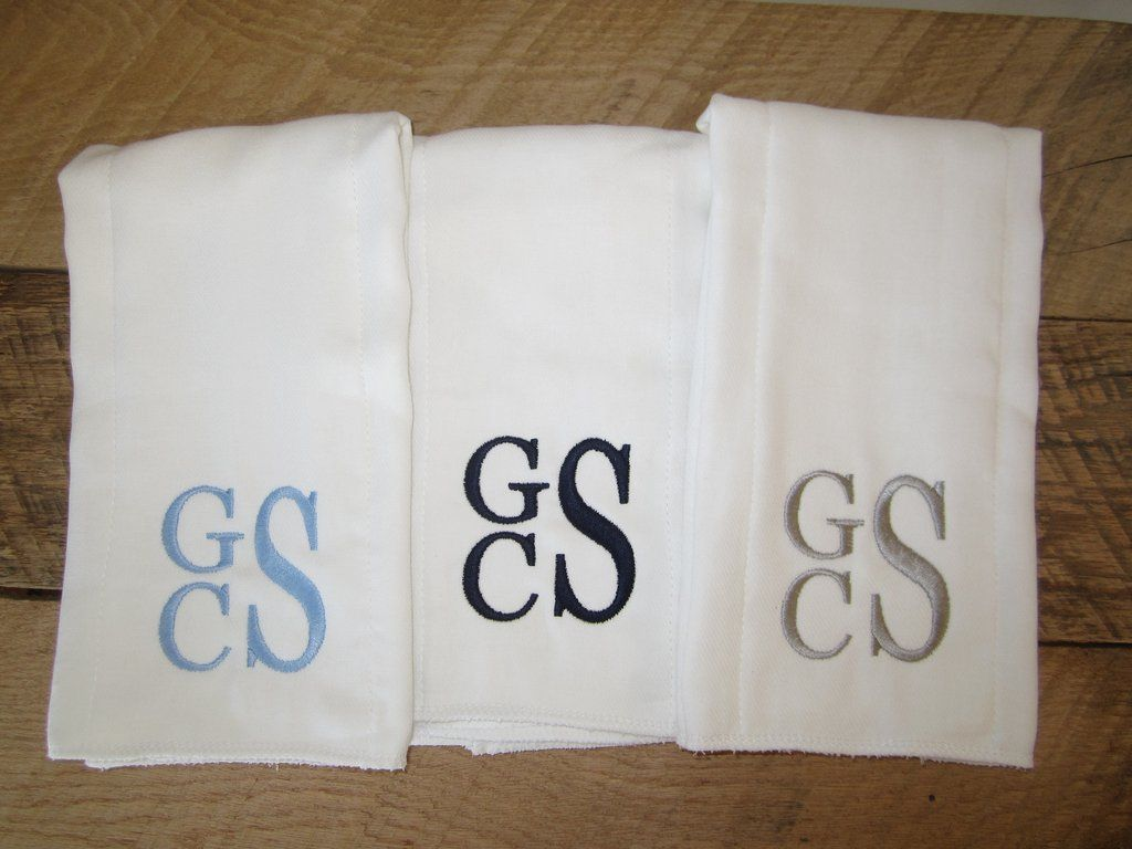 Personalized Burp Cloth - Set of 3 3 white monogrammed burp cloths ...