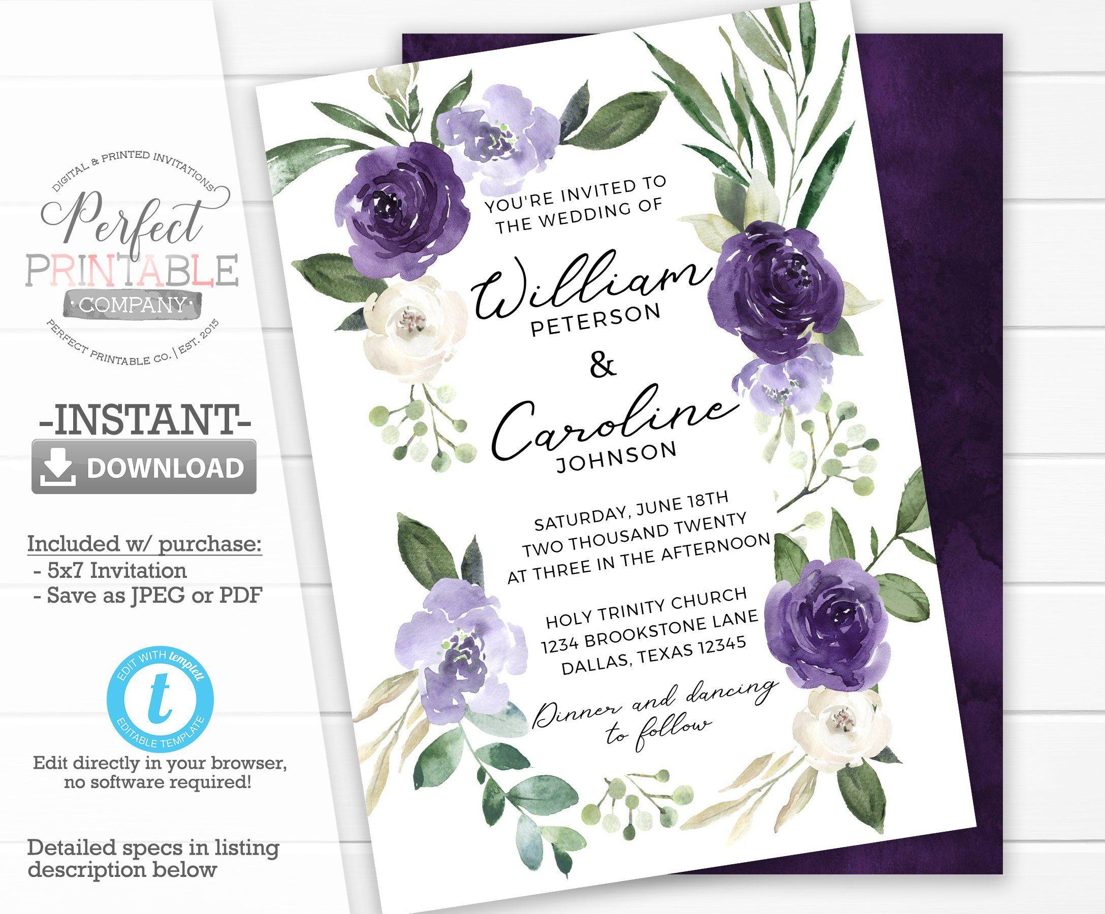 Lavender Purple Wedding Invitation Template Purple Floral Wedding