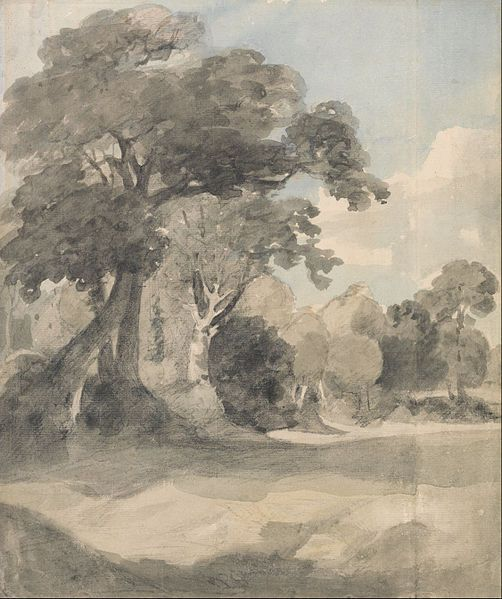 John Constable Trees In A Meadow Study Land On Paper
