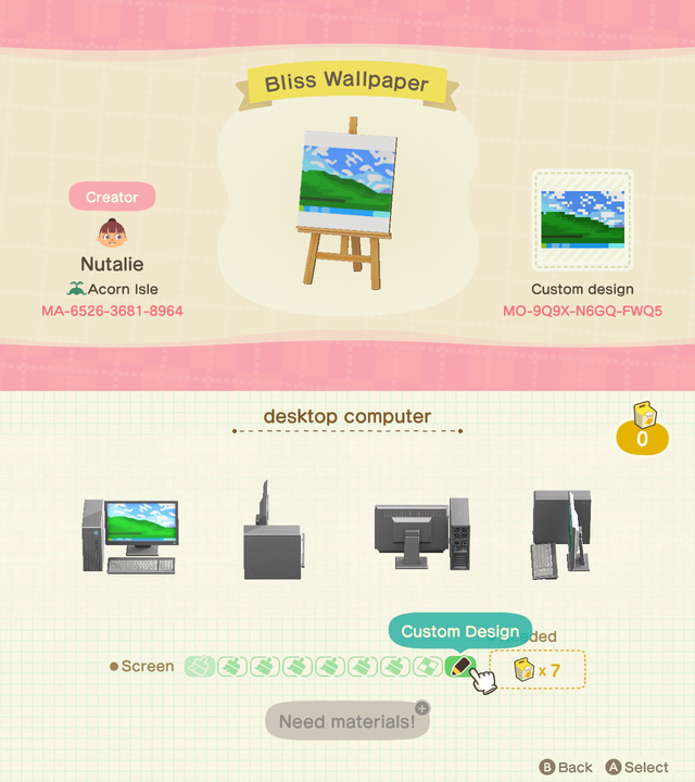 I Made Bliss The Wallpaper For Windows Xp As A Pattern Designed For The Desktop Computer Ho Animal Crossing Animal Crossing Wild World New Animal Crossing