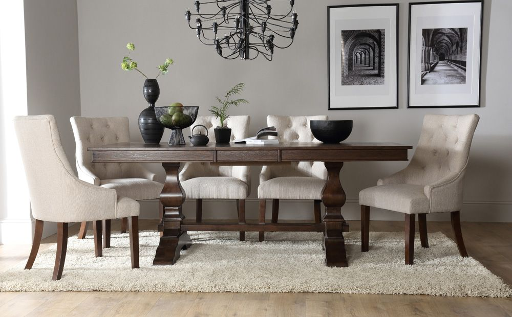 dark wood living room furniture window curtain designs 2016 cavendish extending dining table with duke oatmeal chairs oak tables deep brown
