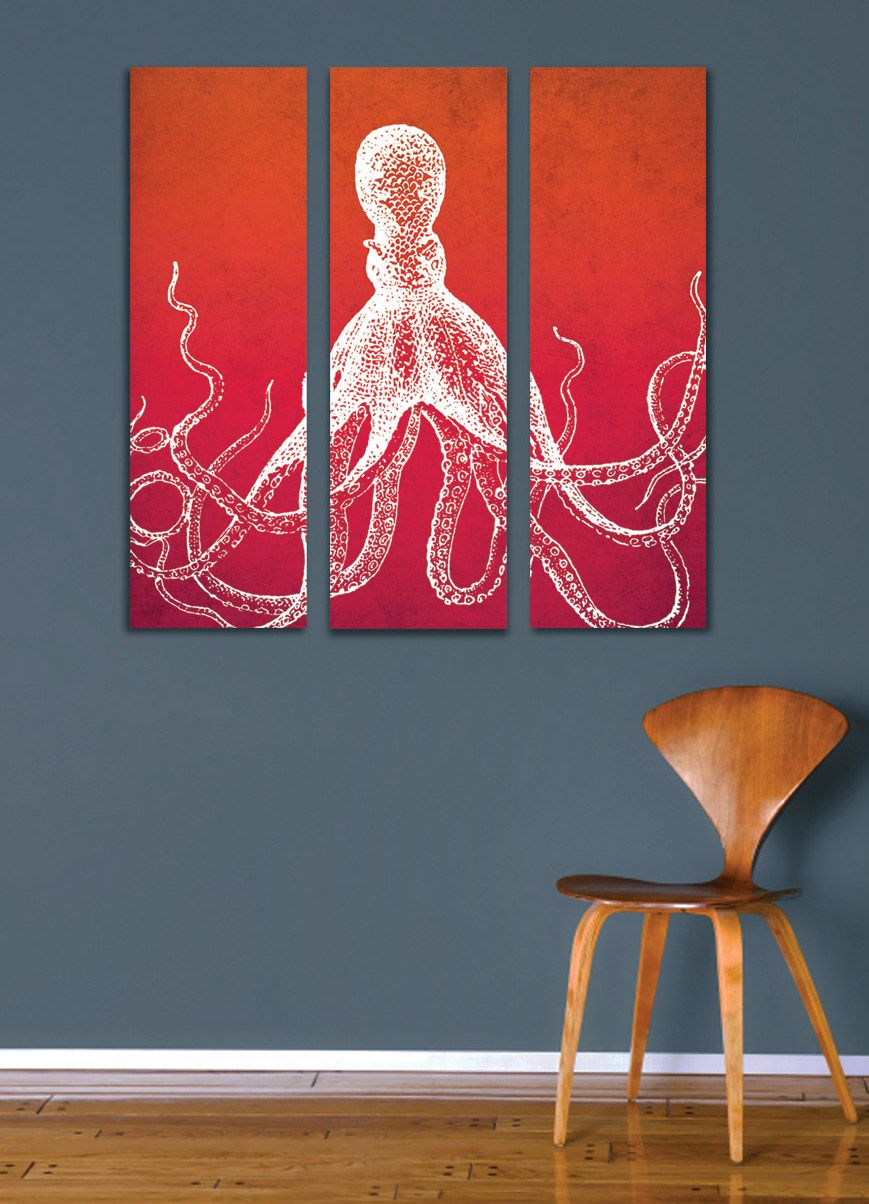 "3 Home Decor Trends For Spring Brittany Stager: 26""x27.5"" Octopus Canvas Art 3 Piece Set"