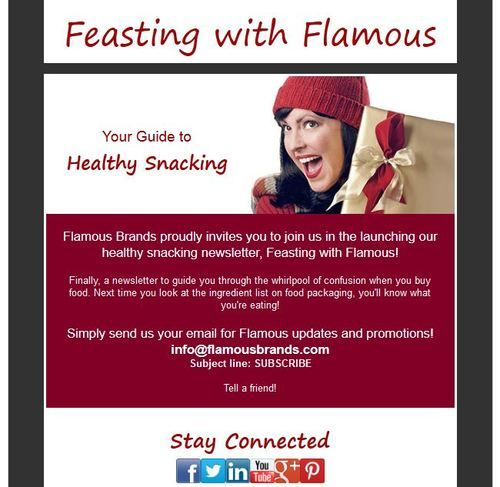 Stay connected with Flamous Brands, join our newsletter: Feasting with Flamous    Send your email information to info@flamousbrands.com  Subject line: SUBSCRIBE   to get the latest updates on healthy snacking! #food #snacks #healthy #newsletter #information #nutrition #nongmo #organic #lifestyles #flamous