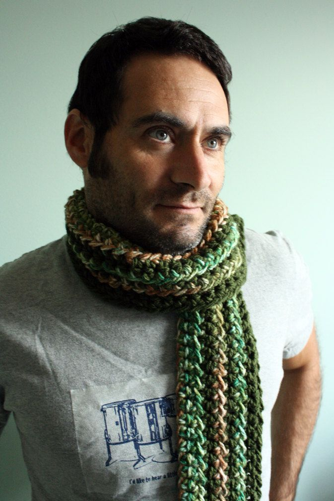 Crochet Striped Scarf Mens Scarf Dude Scarf Guy Scarf in Hunter ...