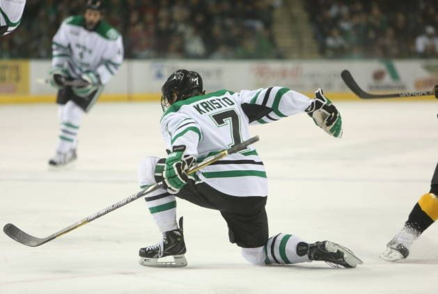 Danny Kristo Celebrating After Tying The Game 1 1 University Of North Dakota Colorado College Fighting Sioux