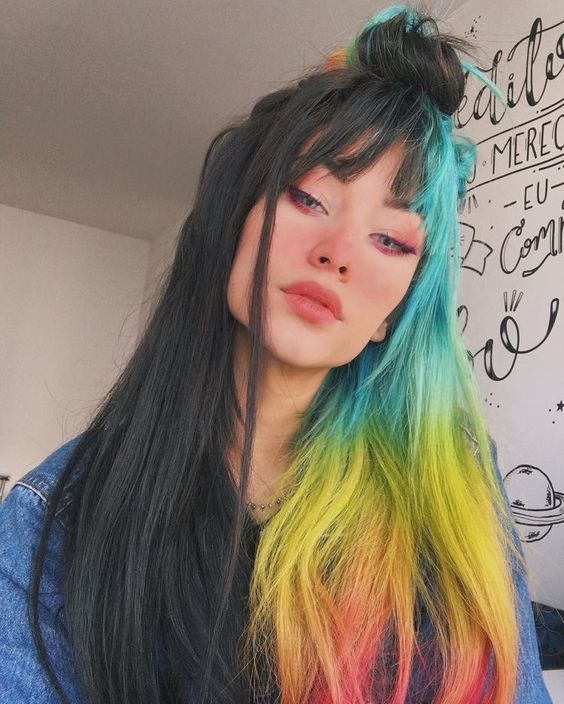 Hair Dye Colorful Hairstyle Half And Half Diy Hair Dye Personalized Hair Dye Popular Hair Dye Hair Styles Cool Hair Color Dyed Hair